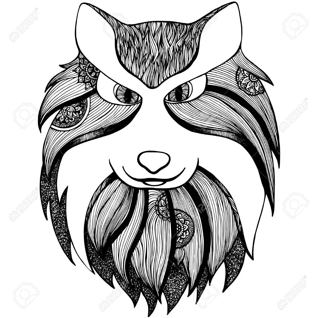 totem animal wolf anti stress page for coloring book