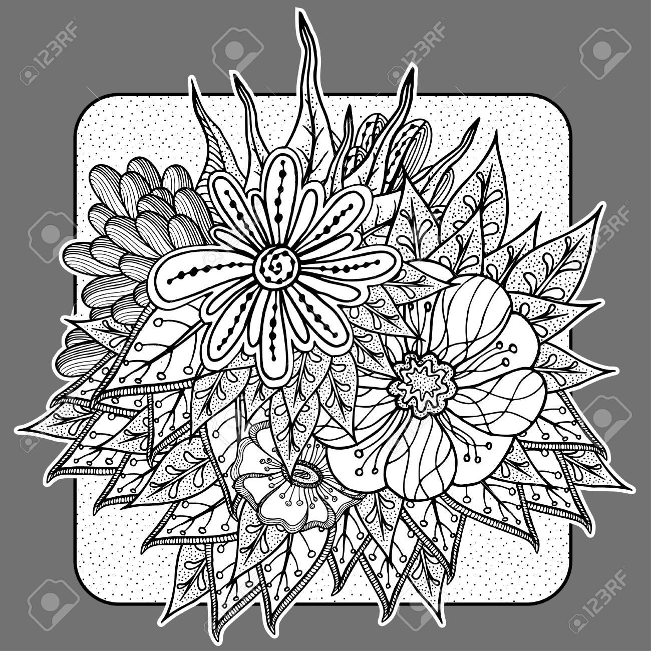 Modèle Vectoriel Pour Le Cahier De Coloriage Design Rétro Ethnique Avec Des Fleurs Abstraites Dessin Au Trait Noir Sur Fond Blanc