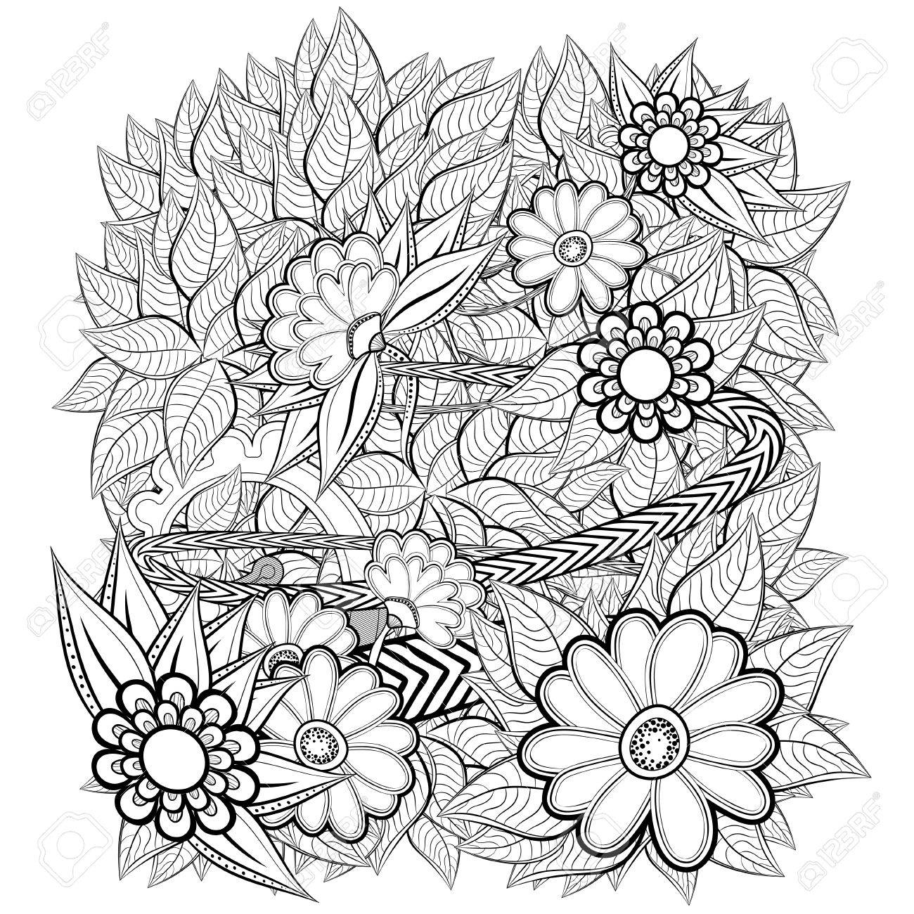 Pattern With Abstract Flowers. Coloring Book Page For Adult Royalty ...