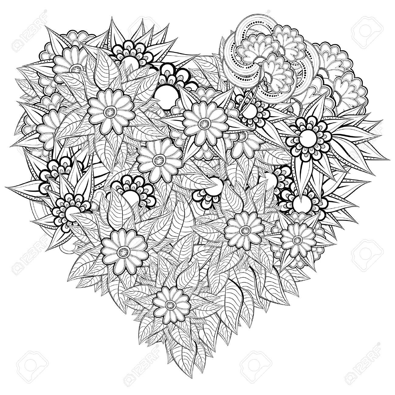 Patrón Para Colorear Vector En Forma De Corazón. Diseño Retro étnica ...