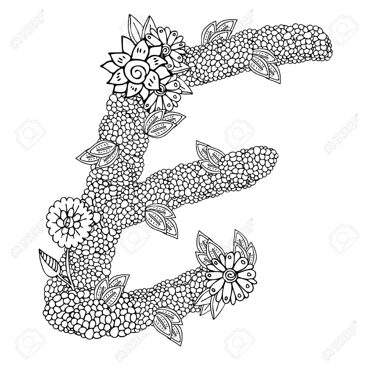 Coloring pages for letter e - Shaped Pattern Of Capital Letter E Decorated With Floral Ornament Coloring Book Page For Adult