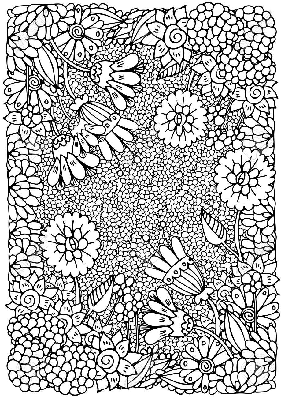 Vector Floral Pattern Coloring Book Page For Adult A4 Format