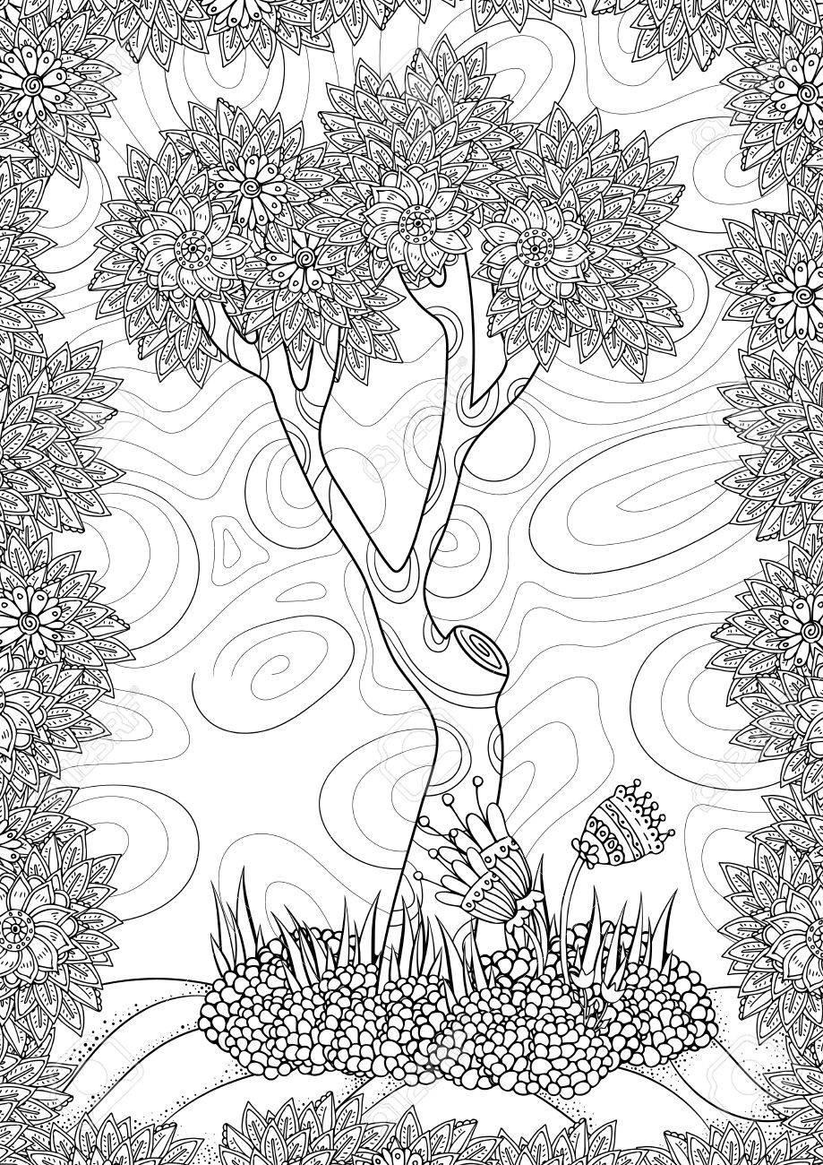 Modelo Del Vector. Paisaje Con árboles Y Flores. Página Para ...