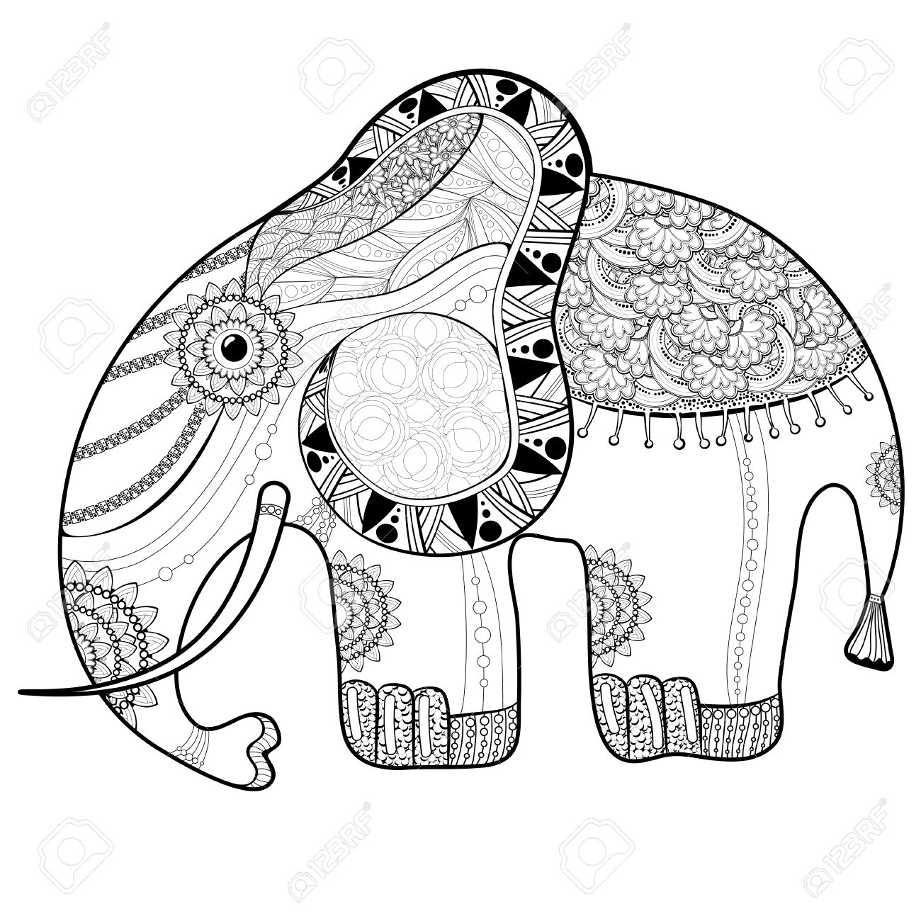 Coloring Book Page For Adults Elephant Ethnic Anti Stress Pattern Of Totem Animal Style