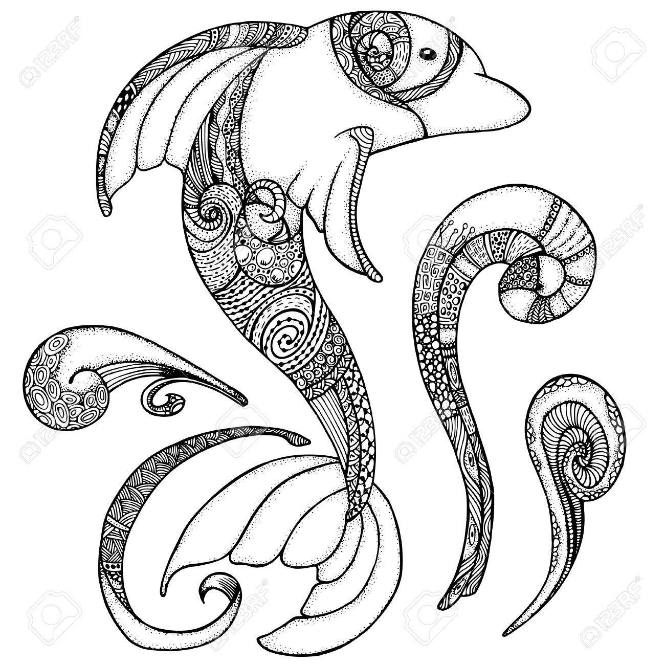 Zentangle Imagen Estilizada De Tótem Animal: Delfines. Página Adulto ...