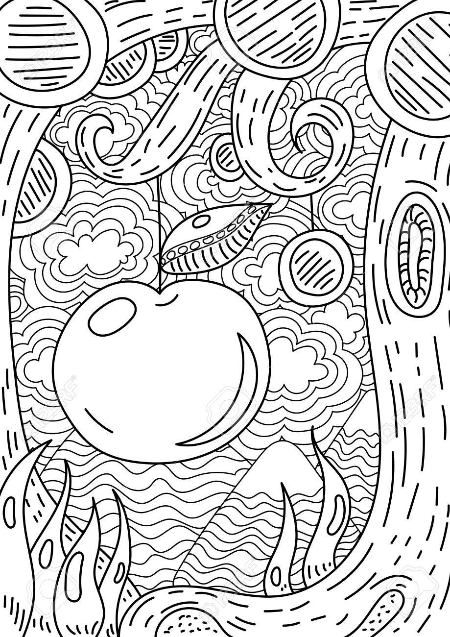 Coloring book page apple tree - Vector Pattern With Landscape Apple On Tree Coloring Book Page For Adult And Kids