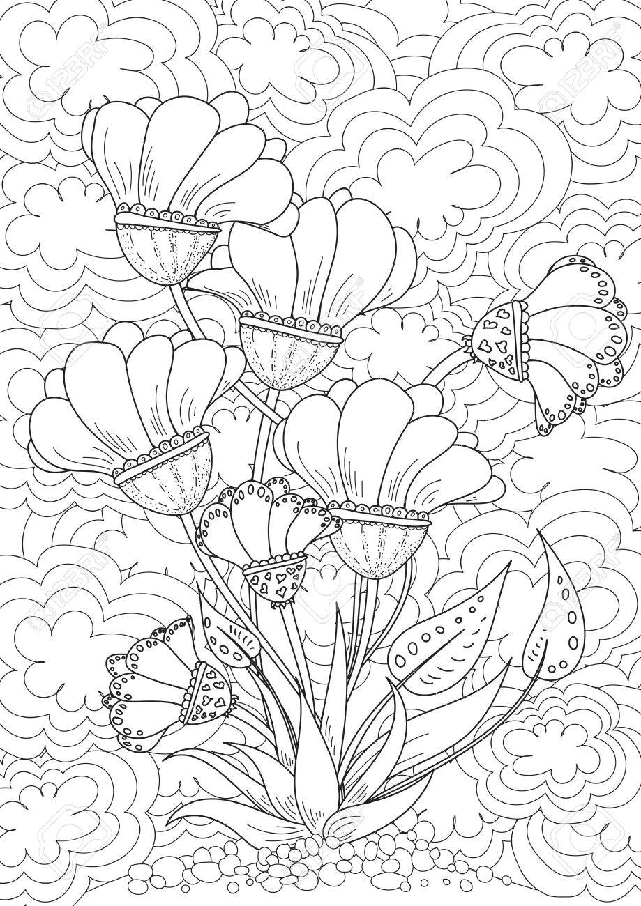 Pattern. Landscape With Bouquet Of Flowers. Coloring Book Page ...