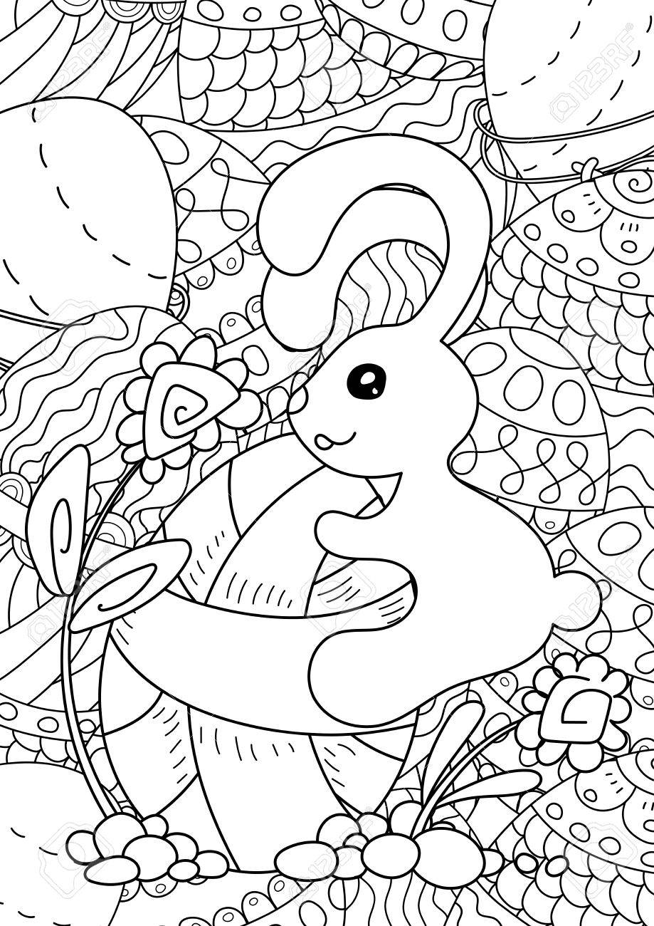 - Pattern. Happy Easter Coloring Book Page For Adult And Kids