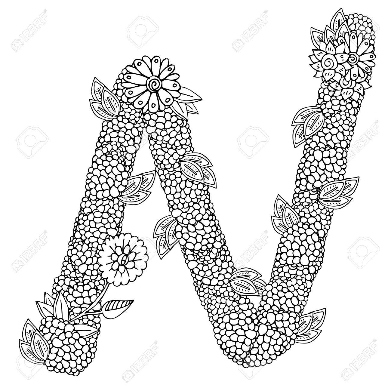 Shaped Pattern Of Capital Letter N Decorated With Floral Ornament Coloring Book Page For Adult