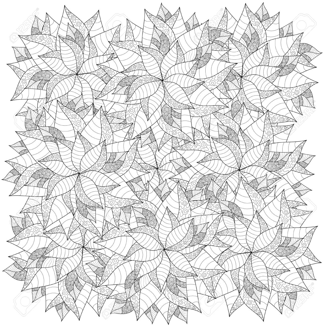 Vector Pattern With Abstract Leaves. Coloring Book Page For Adult ...