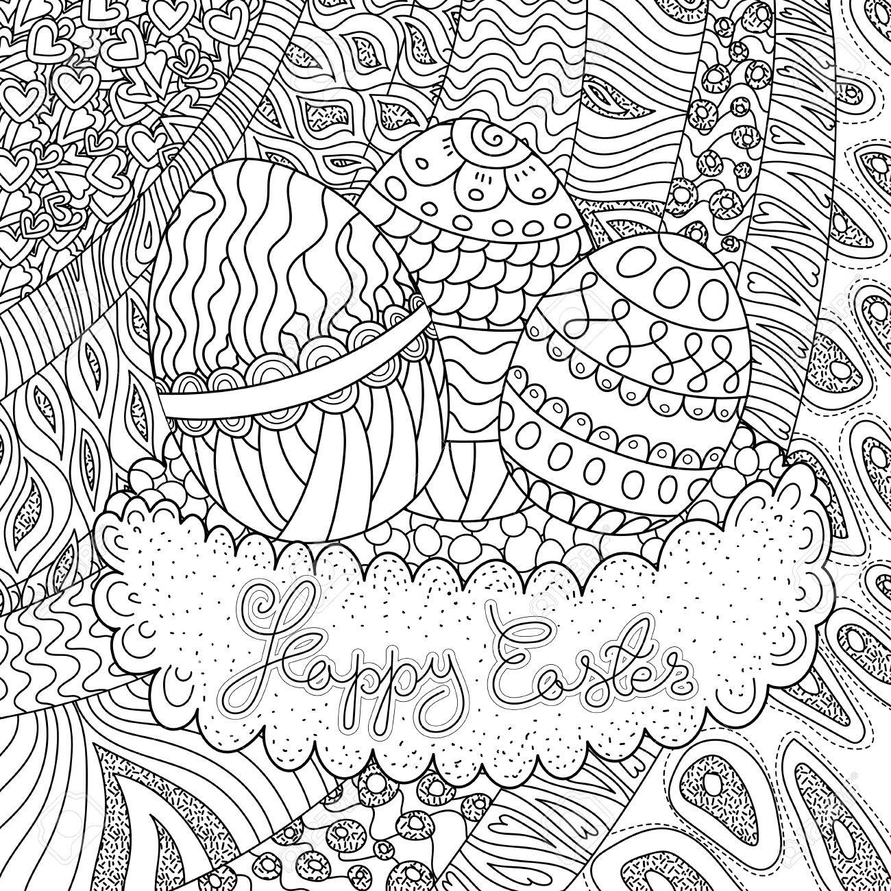 Happy Easter Coloring Book Page For Adult And Kids Stock