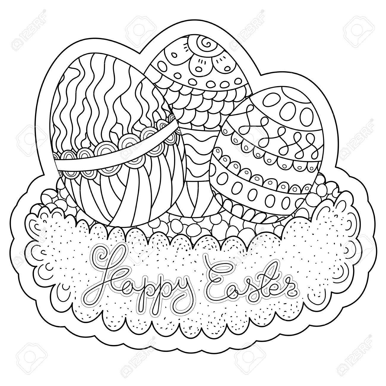 Modelo Del Vector. Libro De Colorear Feliz Pascua Para Adultos Y ...