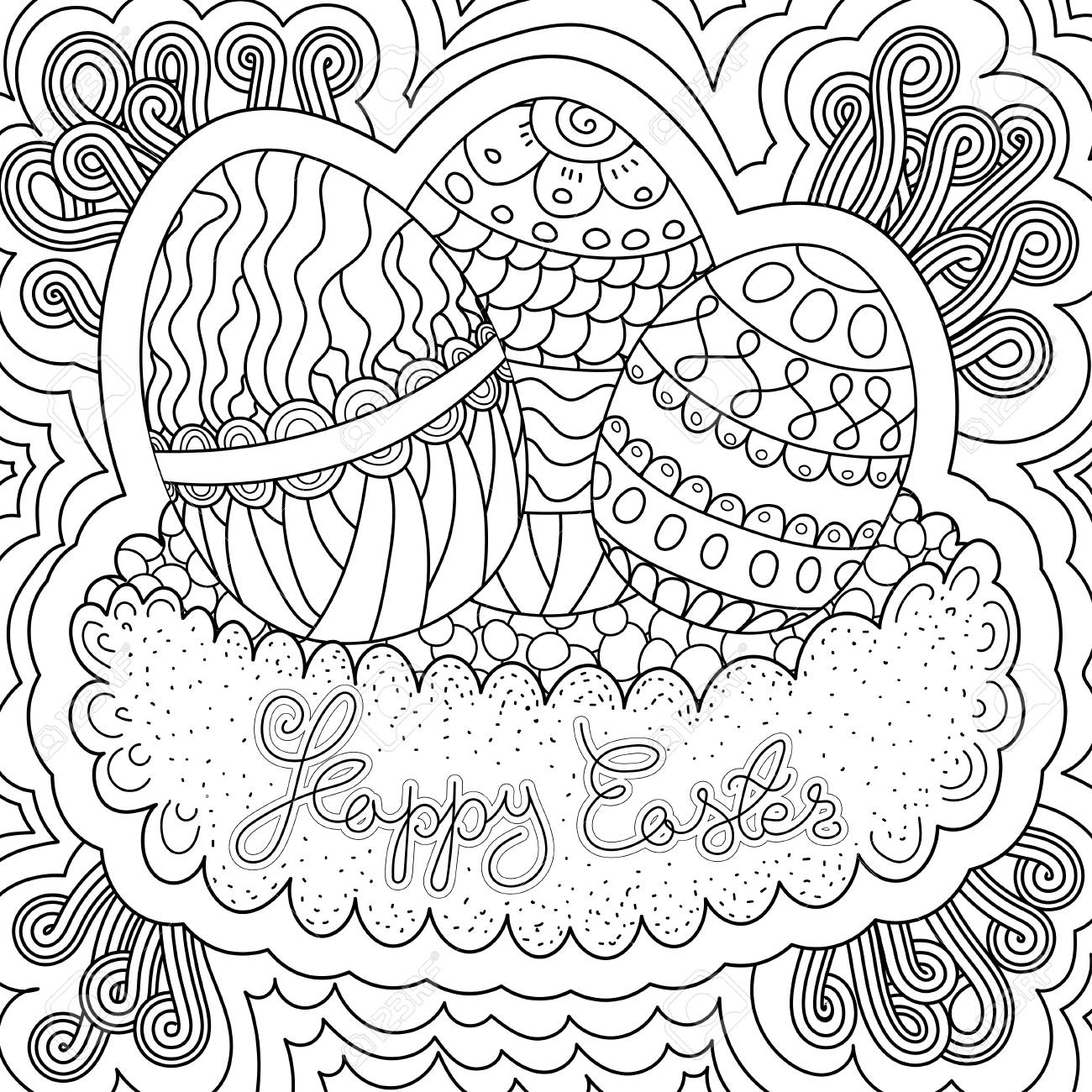 Square Shaped Vector Pattern. Happy Easter Coloring Book Page ...