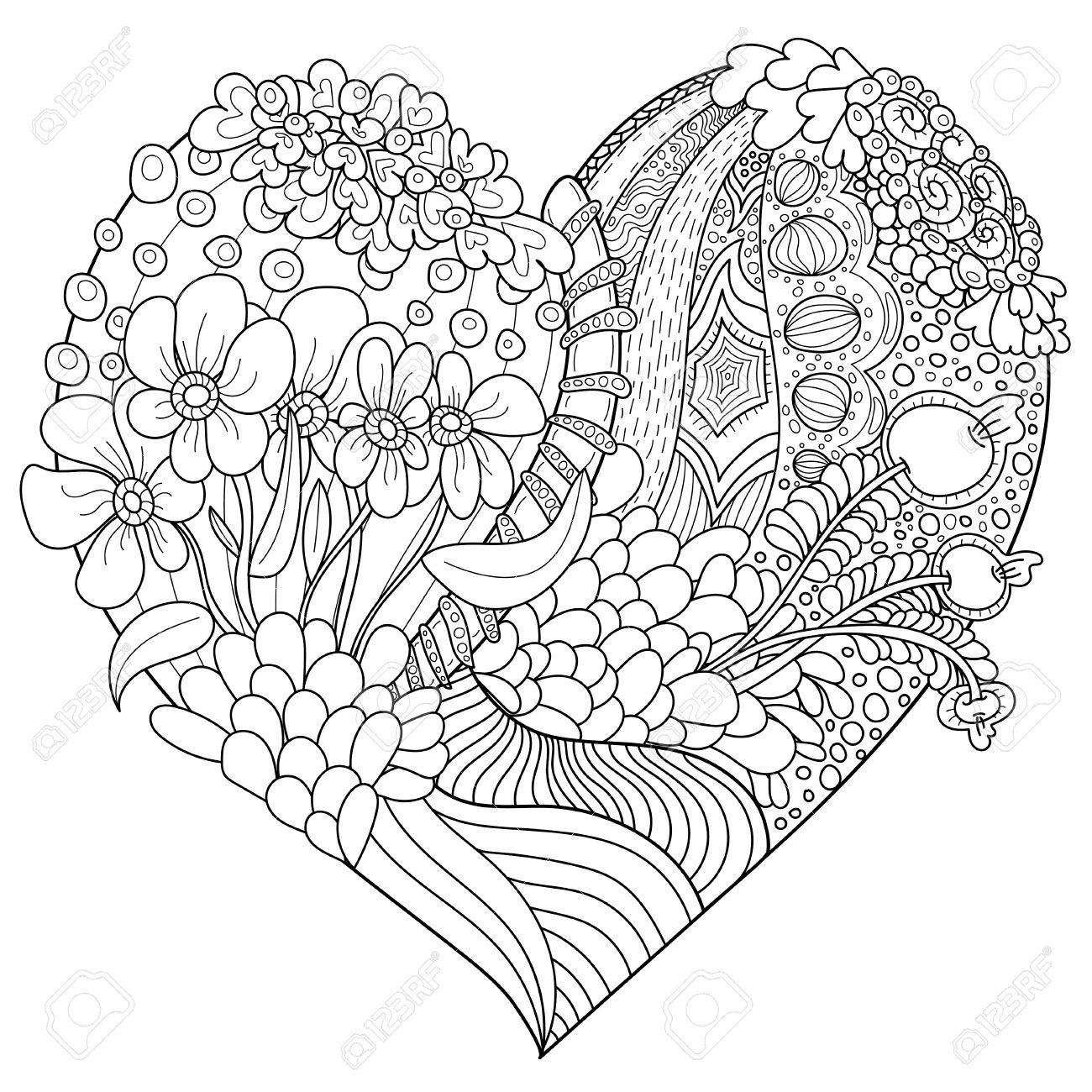 Corazón En Forma De Patrón Abstracto Del Vector Con El Ornamento ...