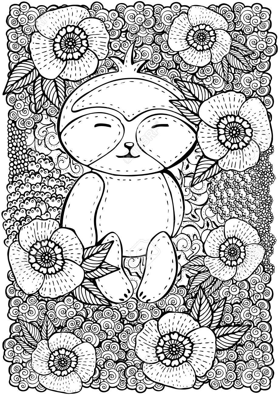 Format A4 Pattern With Flowers And Cute Teddy Bear Coloring Book Page For Adult Kids