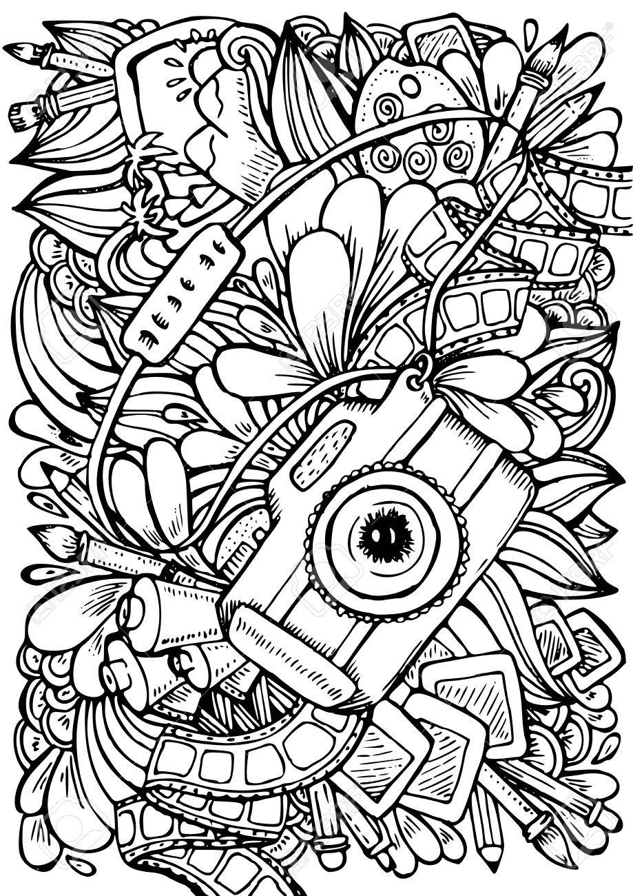 - Hand Drawn Pattern. Anti Stress Coloring Book Page For Adult