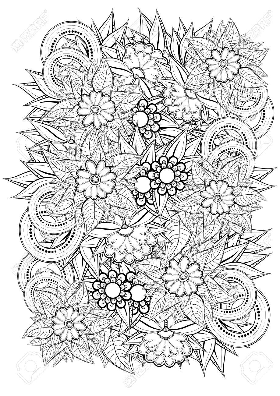 Floral Pattern Coloring Book Page For Adult Royalty Free Cliparts ...