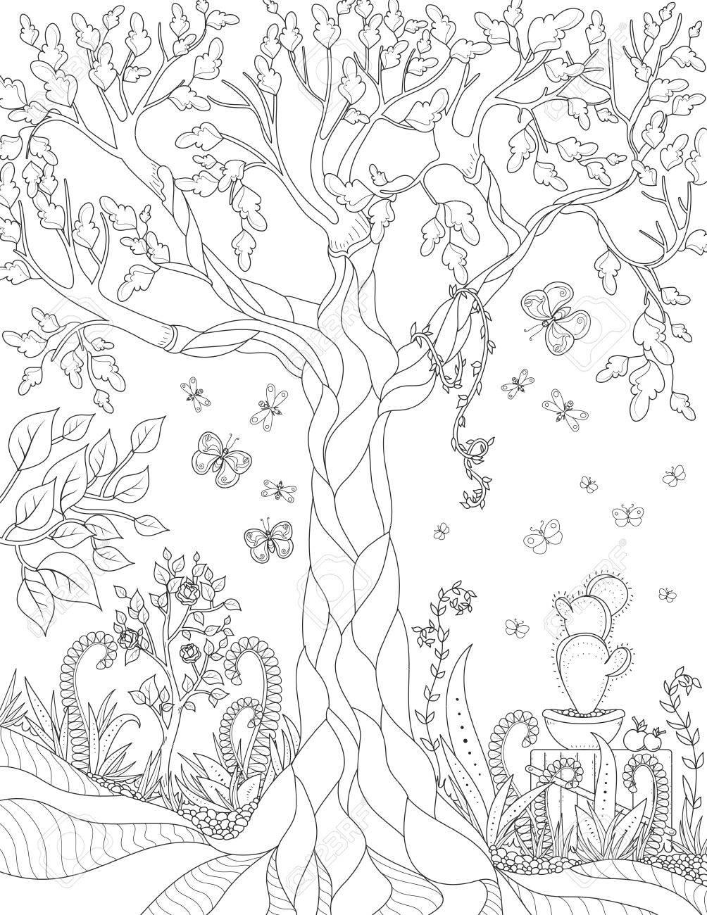 Modelo De La Naturaleza Del Vector Con El Jardín. La Página De Libro ...