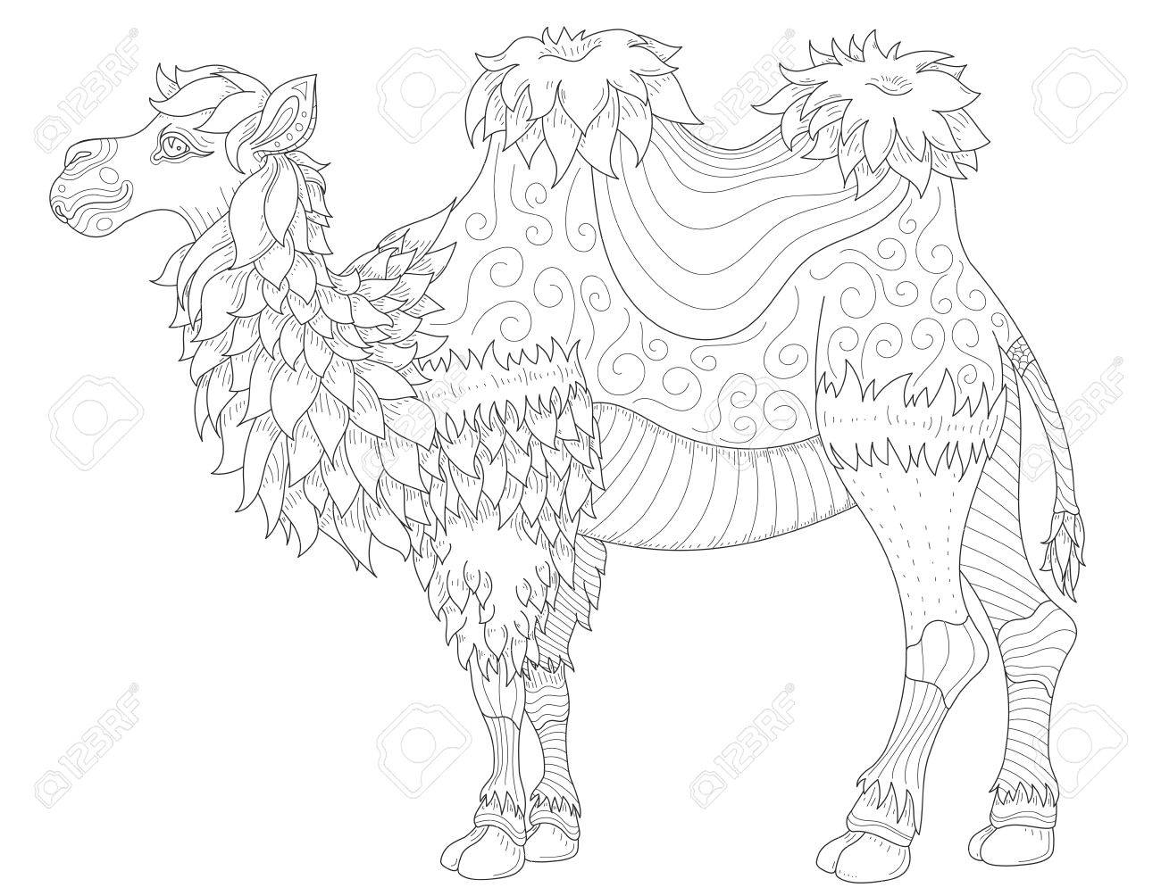 Vector Anti Stress Coloring Book Page For Adult With Animal