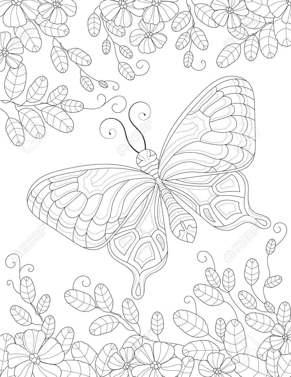 Página Para Colorear Libro Para Adultos Con Flores Y Follaje ...
