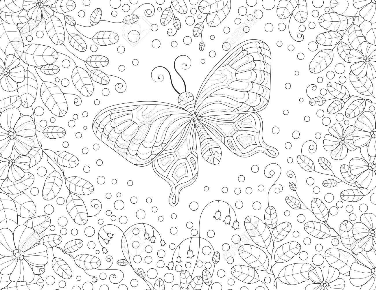 Contemporáneo Mariposa Detallada Para Colorear Modelo - Ideas Para ...