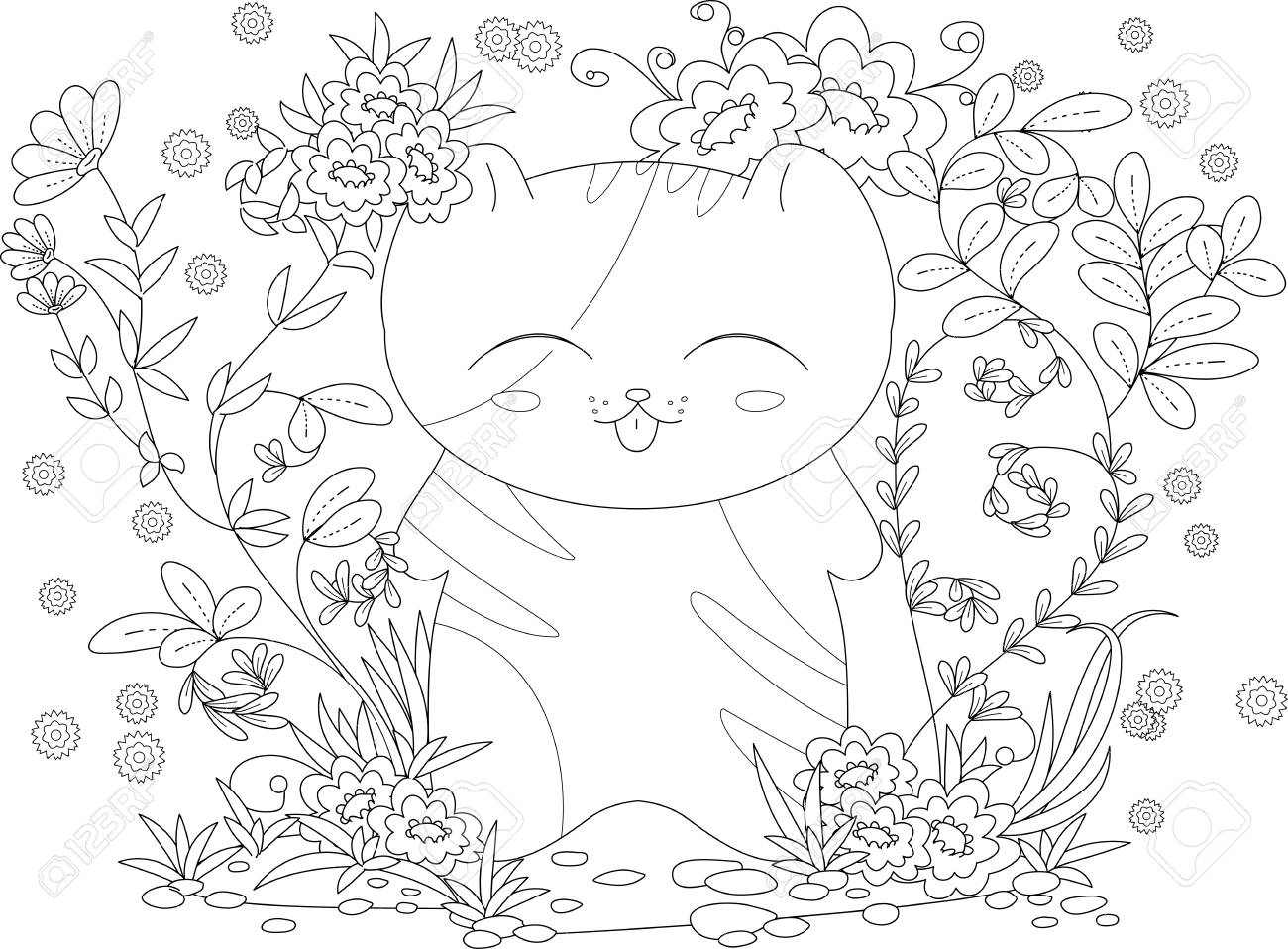 Coloring book page for adult and kids. happy kitten with flowers..