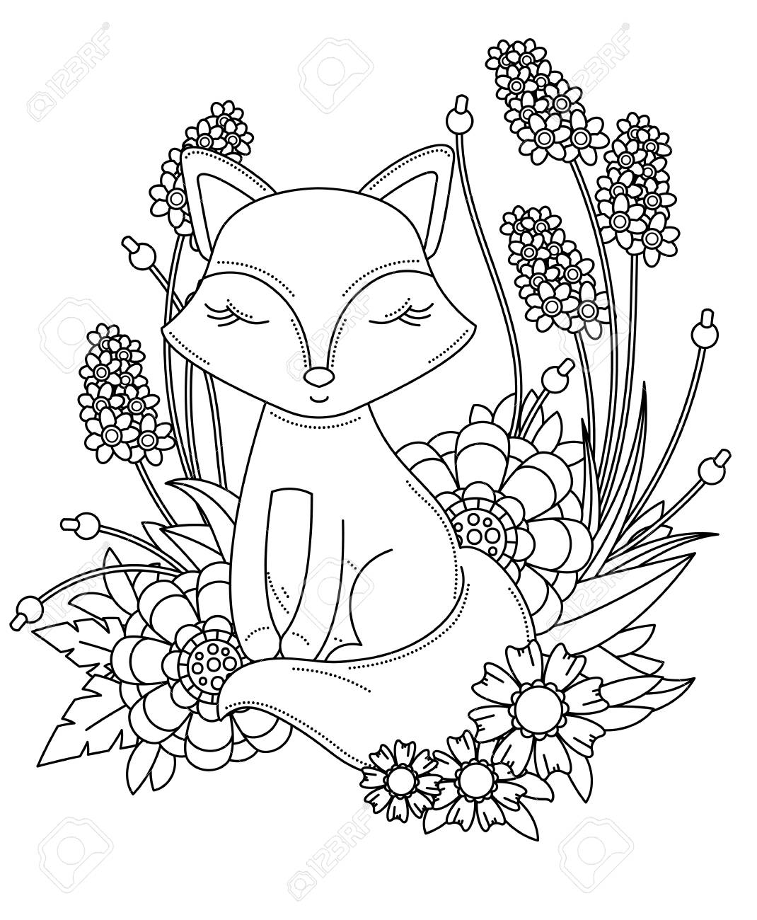 Coloring Book Page For Adult And Kids Cute Little Cartoon Fox Royalty Free Cliparts Vectors And Stock Illustration Image 127180373