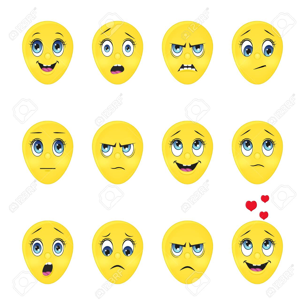 Collection of cute emoji. Cartoon style. Vector illustration. Isolated on white. Object for communication, web. - 137652969