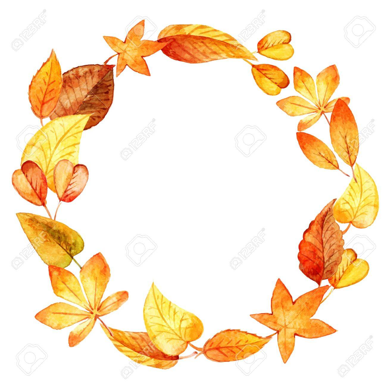 watercolor leaves round frame. Vector illustration - 31090937