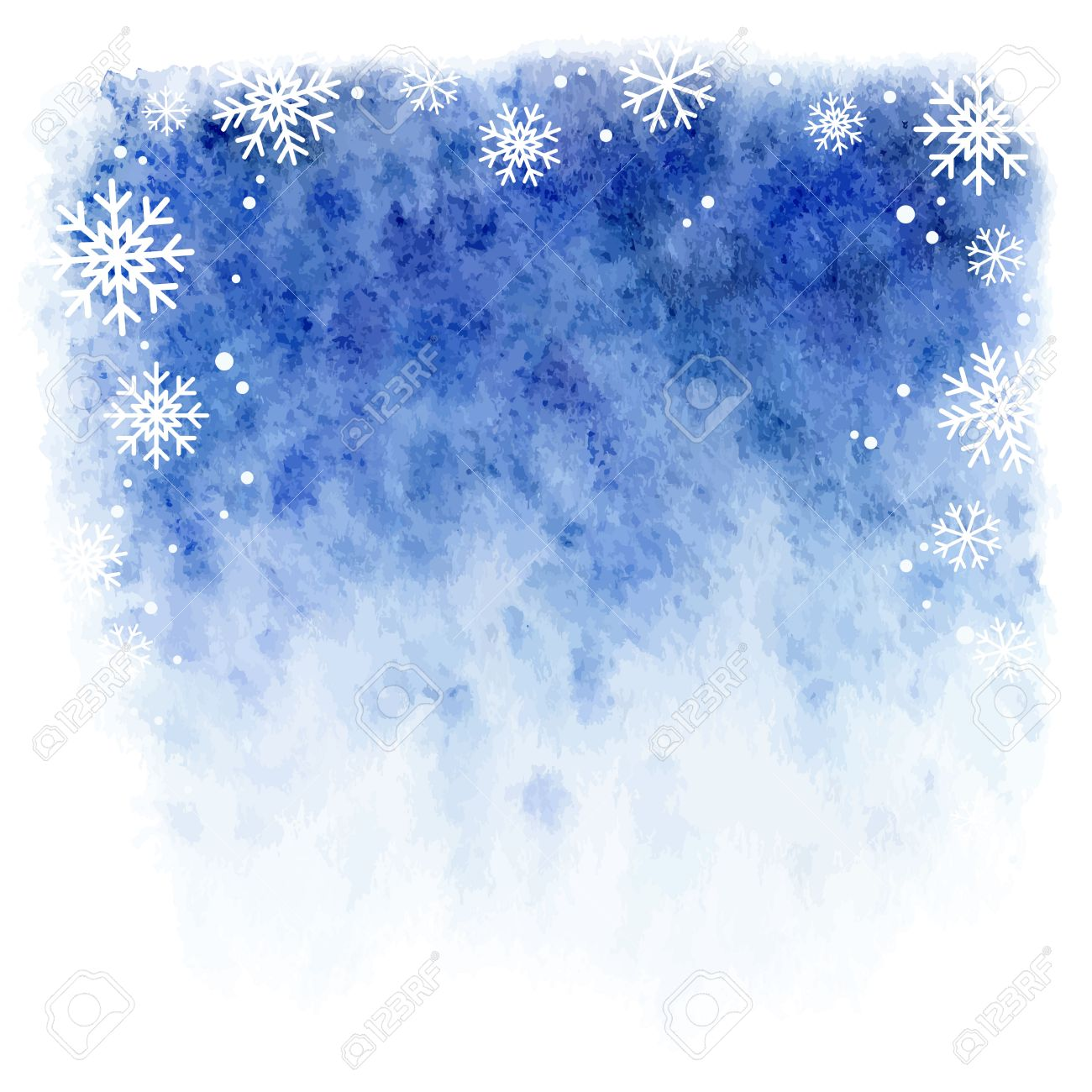 winter watercolor background. Blue sky with falling snowflakes - 32086691