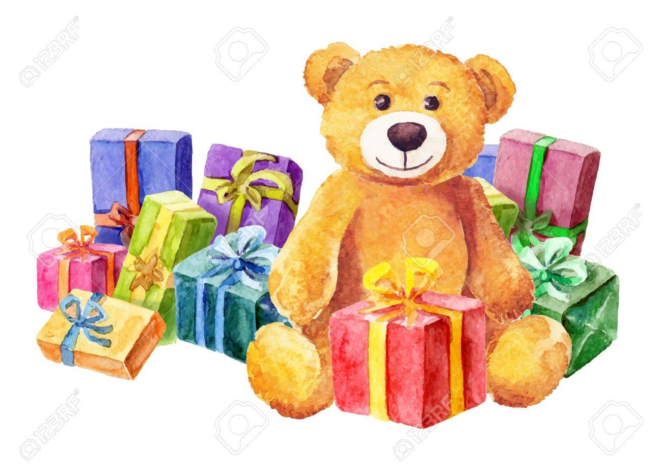 A teddy bear sits on a background of gifts. Watercolor. vector - 32636633
