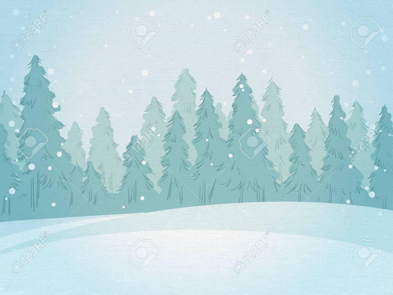 Vintage winter forest landscape. horizontal background - 33025408