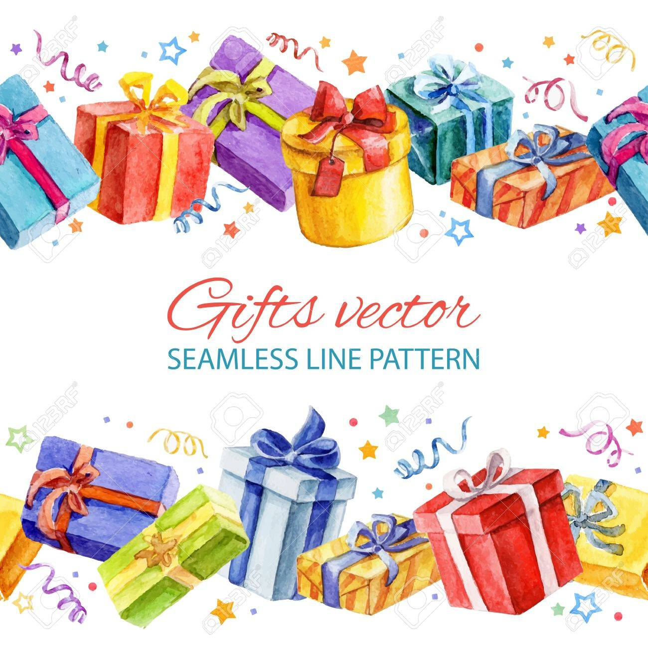 Seamless line pattern with Christmas and New Year gifts. watercolor. - 33147935