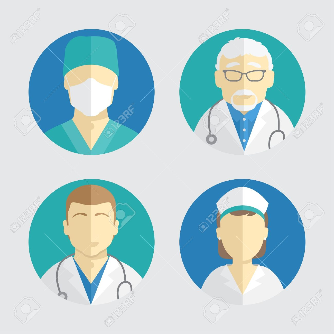 illustration of flat design. people icons collection. doctor and nurse - 33691742