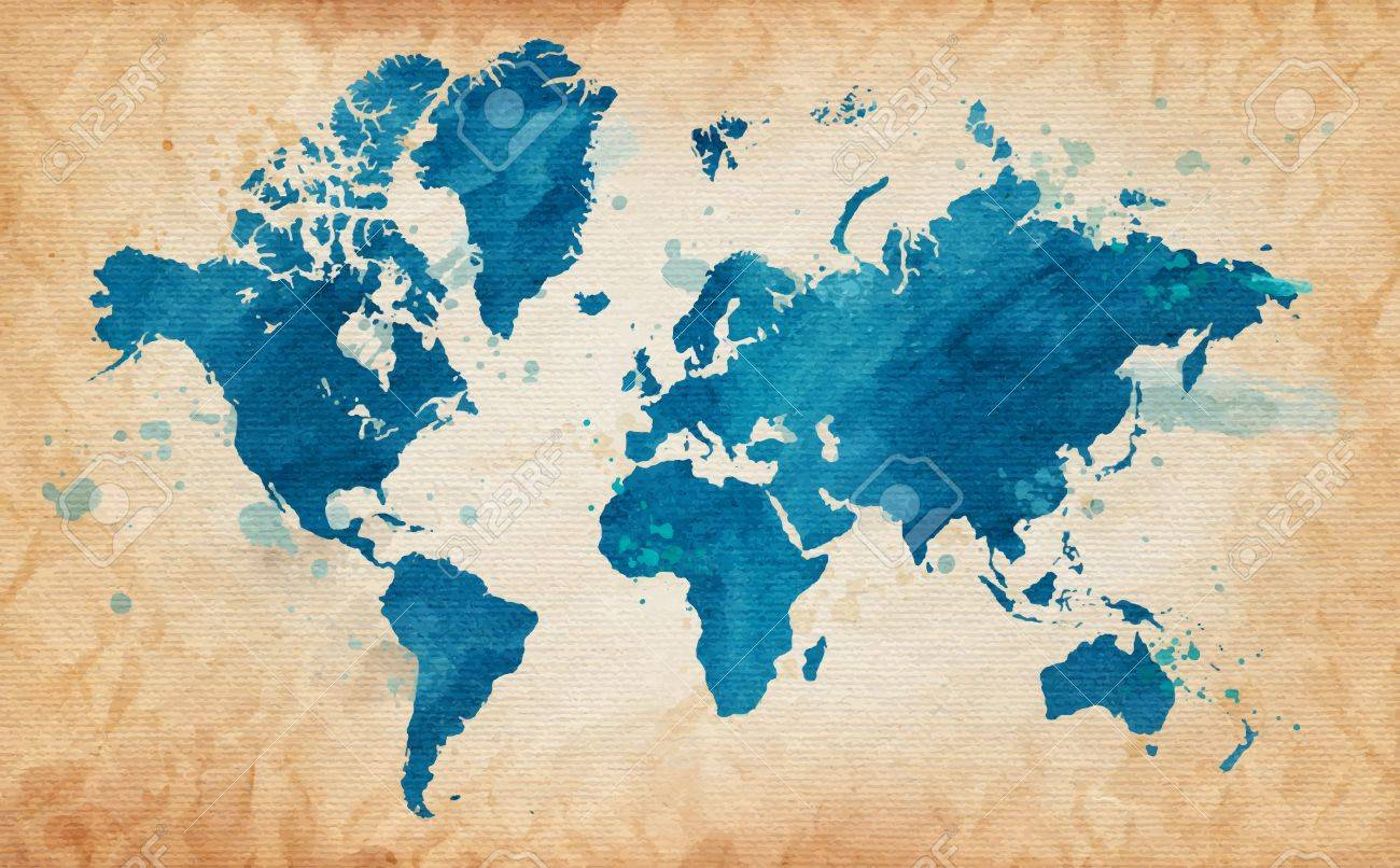 Illustrated map of the world with a textured background and watercolor spots. Grunge background. vector - 36898083