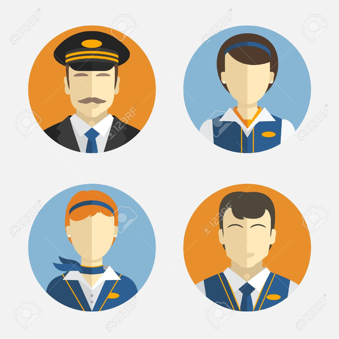 Vector icons depicting different Professions pilots and pretty flight attendant in uniform - 37202332