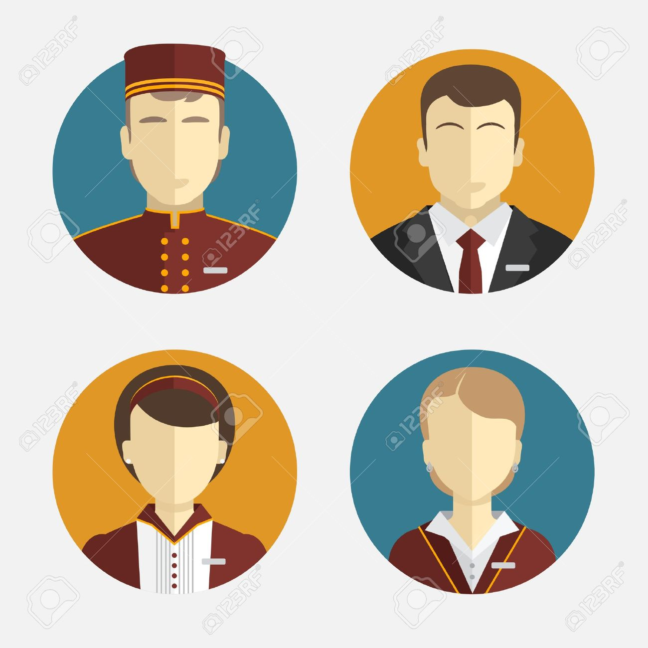 Avatars people. The hotel staff. Reception, curtains, maid manager. - 37202340
