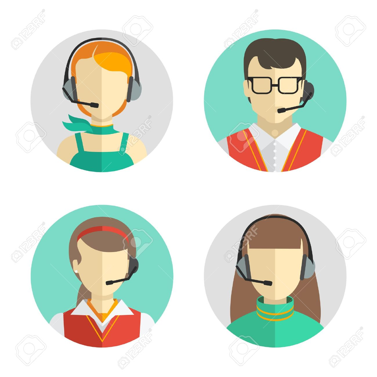 Vector icons set Male and female call center avatars in a flat style with a headset, conceptual of communication. - 37474715
