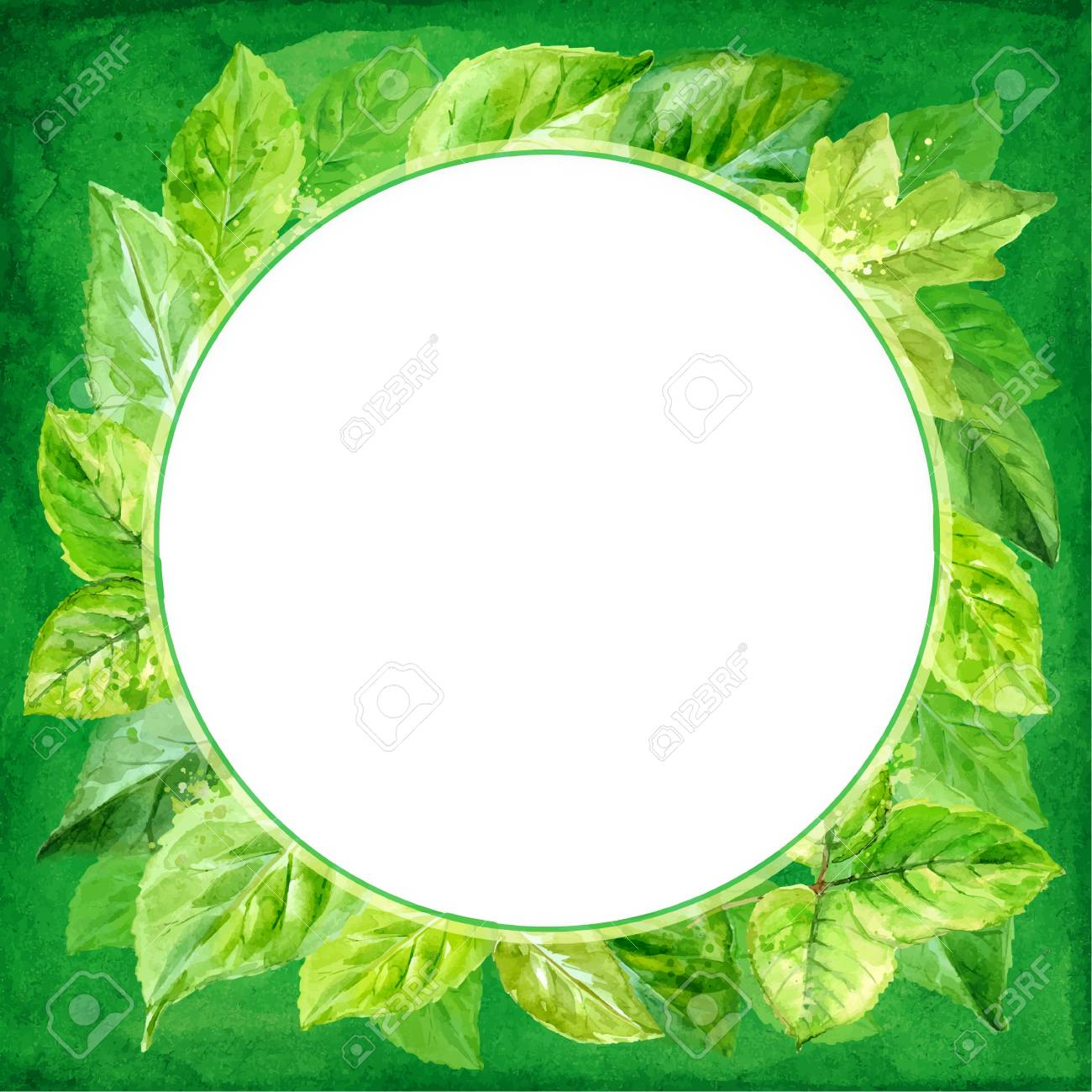 round frame made of various leaves in watercolor. Hand-painted design - 37892776