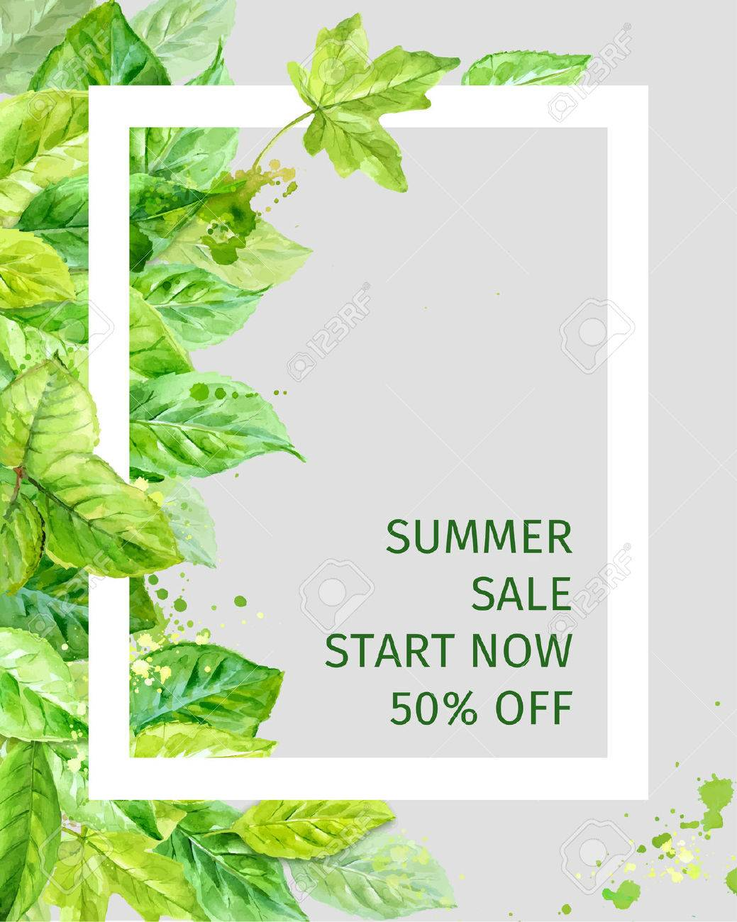 Illustration of summer leaves. spring sale. watercolor angular composition. - 41161736