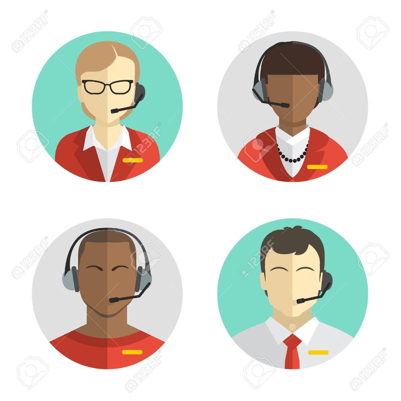 icons set Male and female call center avatars in a flat style with a headset, conceptual of communication. Vector - 43789115