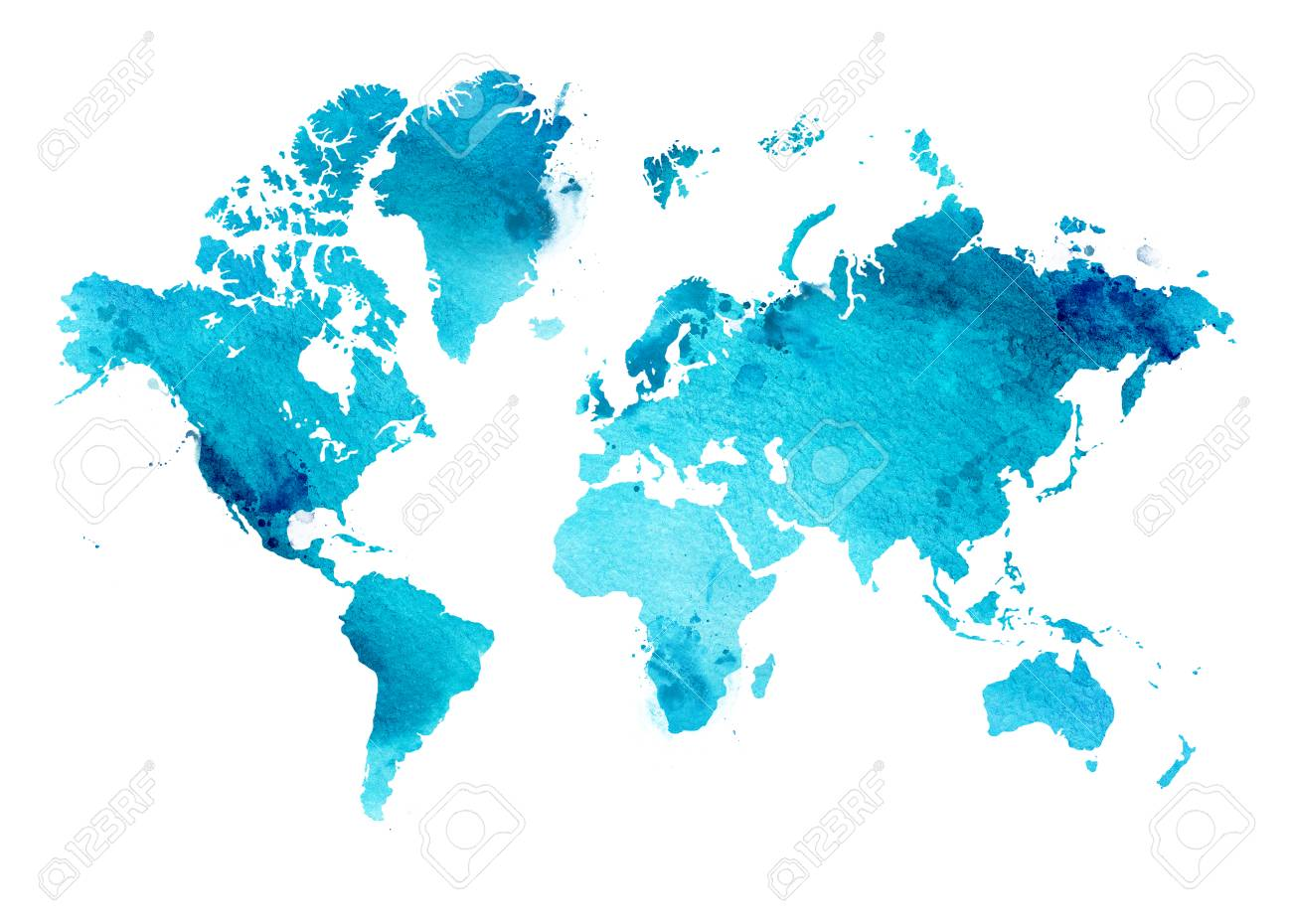 illustrated map of the world with a isolated background blue heaven watercolor stock photo