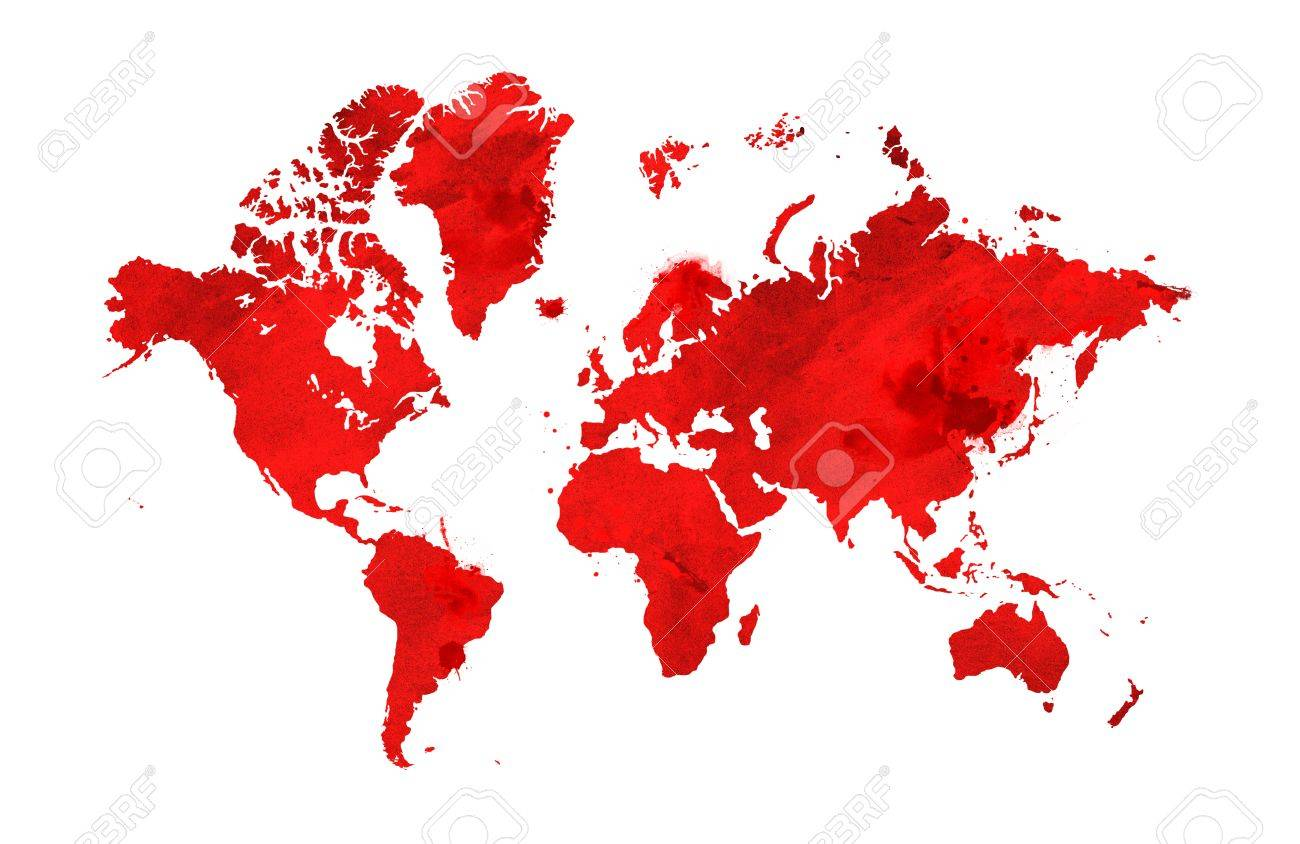 Illustrated map of the world with a isolated background. red watercolor - 73673245