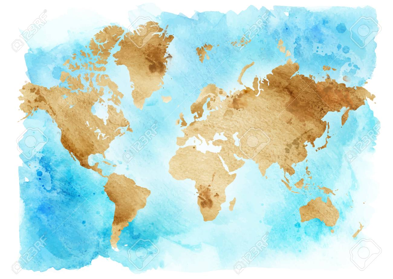 Water Color Map Vintage Map Of The World On A Blue Background. Watercolor