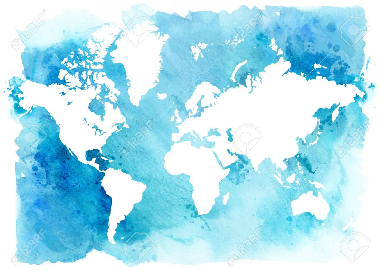 Vintage Map Of The World On A Blue Background. Watercolor