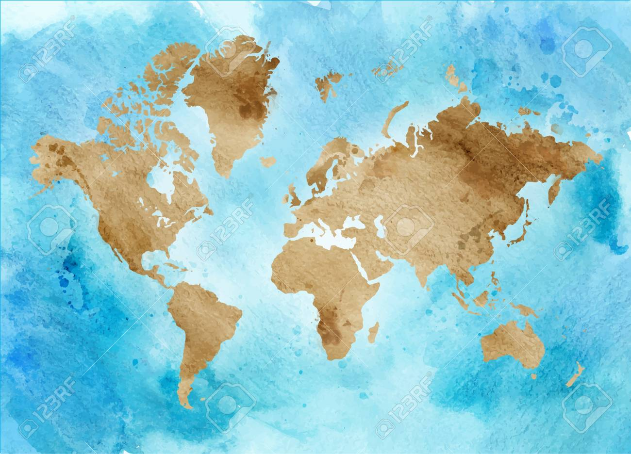 Vintage map of the world on a blue background. horizontal Watercolor..