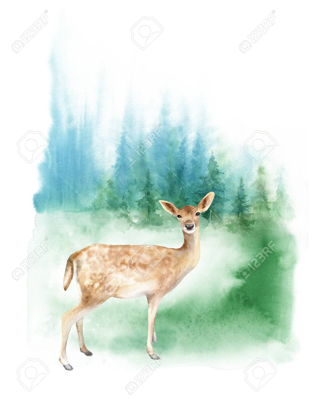 watercolor foggy forest landscape the deer on the lawn template