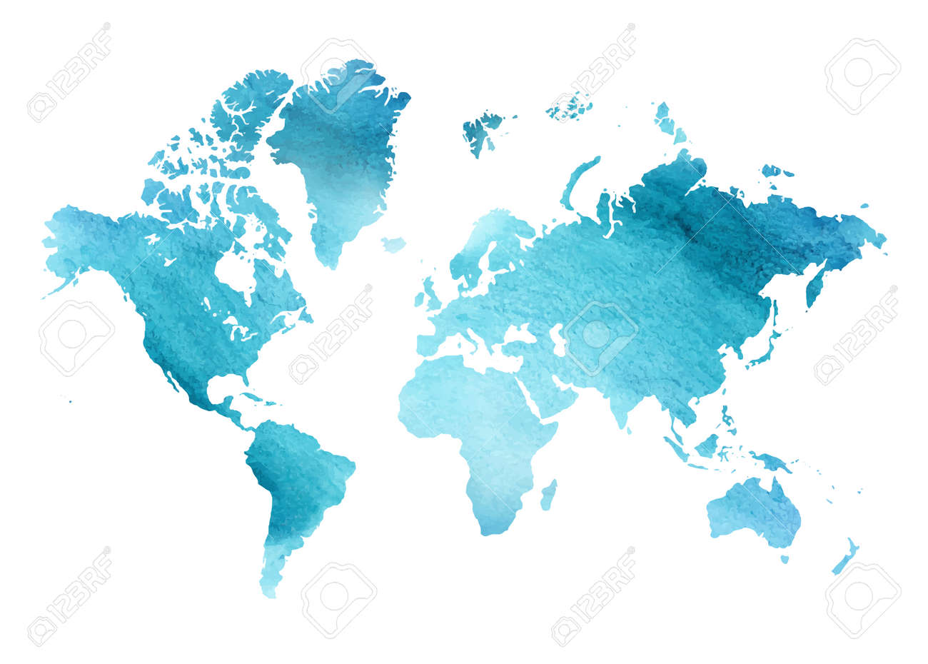 Illustrated blue watercolor map of the world with a isolated bac - 158183845