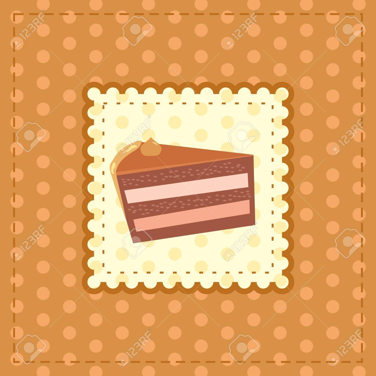 greeting card with a piece of cake Stock Vector - 14083346