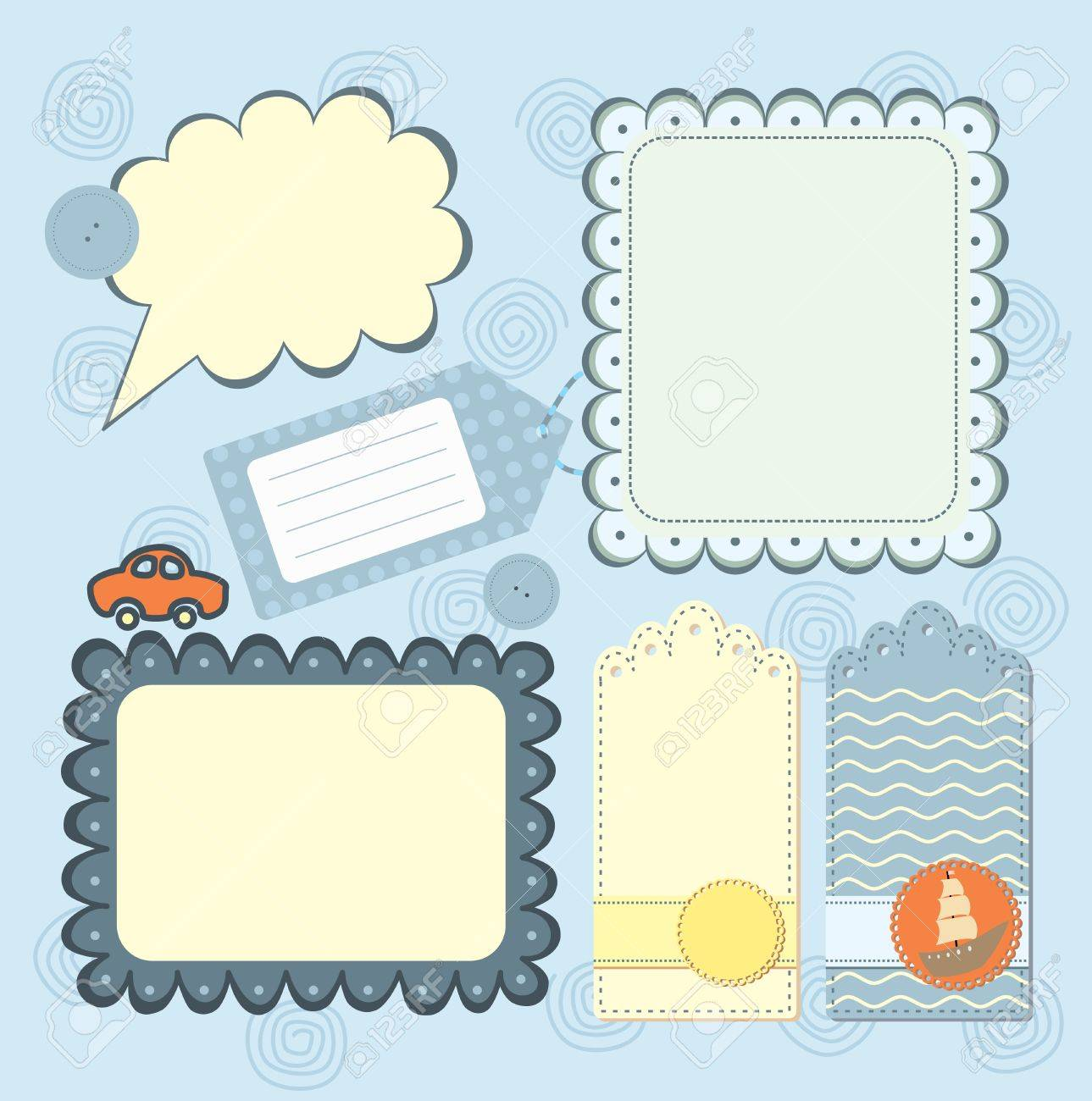 Boy S Frame And Tags Collection For Scrapbook Royalty Free Cliparts